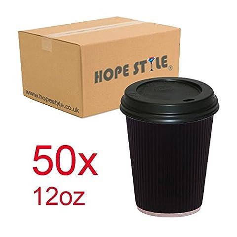 Hope style® 50x Noir Ripple jetables chaud pour tasses à café (12oz-16oz, 227ml) + Couvercles Noir 12oz