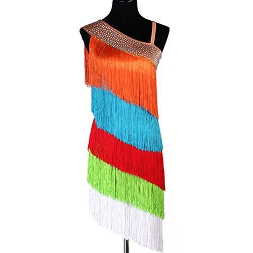 Buntes Flapper Fransen Latin Dance Kleid für Damen Ärmelloses professionelles Tango Zumba Rumba Cha Cha Performance - Schwarzes Flapper Für Erwachsene Plus Kostüm