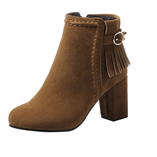 UH Damen Stiefeletten Blockabsatz High Heels Fransen Ankle Boots mit Fell Reißverschluss und Schnalle Fashion Schuhe
