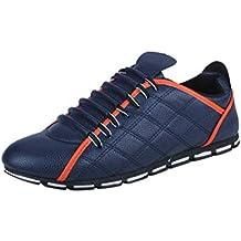 WWricotta LuckyGirls Zapatillas Casual Hombres Negocio Cuadros Moda Cómodas Calzado Andar Zapatos de Cuero Planos Bambas