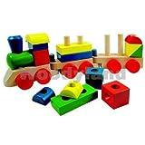 Unbekannt große Eisenbahn aus Holz / Steckspiel Holzeisenbahn mit Bausteine - Holzspielzeug - Kinderland - Motorik Motorikspielzeug Zug Züge