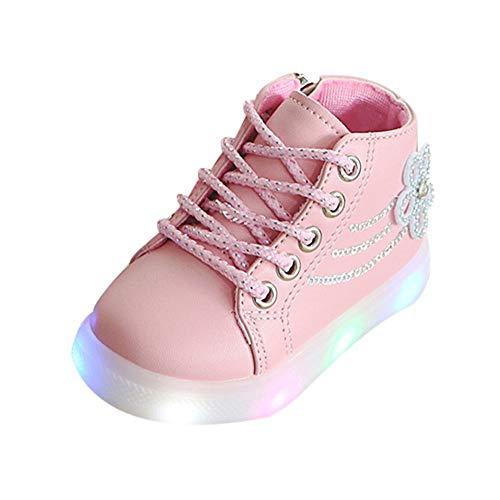 LILIHOT Kinder Baby Mädchen Floral Crystal Led Licht Laufen Sport Stiefel Schuhe Kleinkind Schuhe Baby Junge Mädchen Weiche Sohle Leinwand Sneaker Babyschuhe Aus Leinwand Mit Weichen -