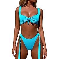 LILICAT!!! Sling Deep V junte Bikini Traje de baño Mujer Vendaje Bikini Conjunto Push-Up Estampado brasileño Traje de baño Ropa de Playa Traje de baño Azul, Azul Claro, Rosa