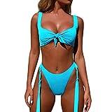 Yvelands Damen bademode Badeanzüge Bandage Bikini Set Push-Up brasilianischen Print Bademode Beachwear (CN-S,Blau)