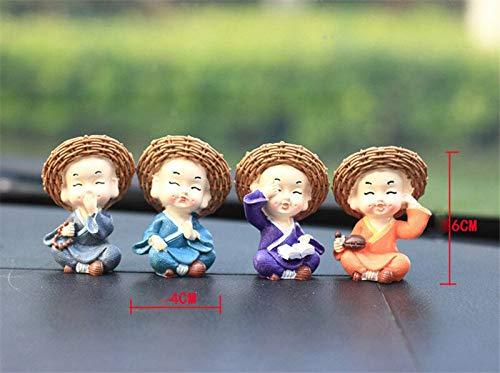 HSR Creative Resin Little Monks Straw Hat Crafts Cute Doll Buddha Statue for Car Desktop