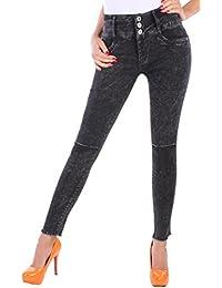 BD Damen High Waist Jeans Röhrenjeans Hose Super Stretch in schwarz mit Riss am Knie