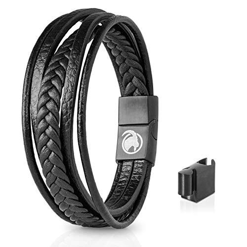 STEINBOCK7 Männer Lederarmband mit Magnetverschluss - Armband aus Leder in Geschenkbox (Schwarz) Serie Sub-box