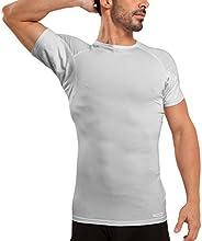 Ejis Men's Sweat Proof Undershirt, Crew Neck, Anti-Odor Silver, Micro Modal, Sweat