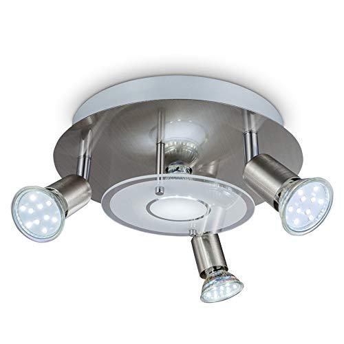 (B.K. Licht Deckenstrahler 4flammig, LED Deckenleuchte, inkl. 4 Spots à 3W, Deckenspots LED schwenkbar, Wohnzimmer, Esszimmer, Küche, Schlafzimmer, 230V, GU10, IP20, warmweiss, 250lm)