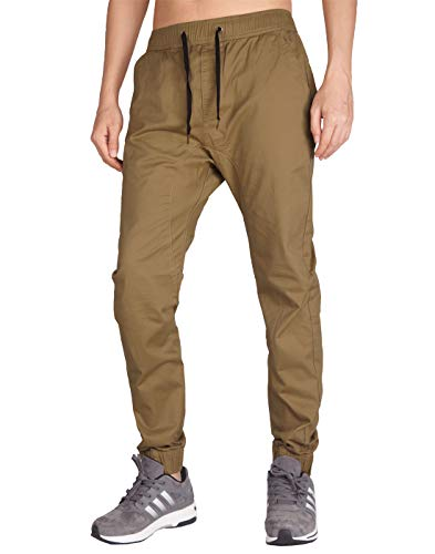 Italy morn uomo casual chino pantaloni jogging slim fit 20 colori (xs, marrone)
