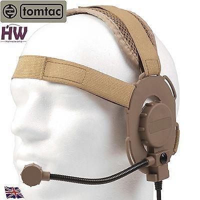 AIRSOFT TOMTAC BOWMAN EVO III 3 HEADSET BOOM MIC TAN SAND DE HELMET RADIO