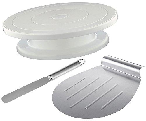 3Tlg Set Tortenplatte drehbar + Große Tortenheber & Streichpalette / Tortenständer mit Kuchen Retter & Kuchenheber Modellierwerkzeug für Tortendekoration