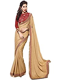Sarees ( Beige Color CHINON Georgette,D.Georgette+ROWSILK Fabric Heavy Work Saree, New Arrival Latest Best Choice...