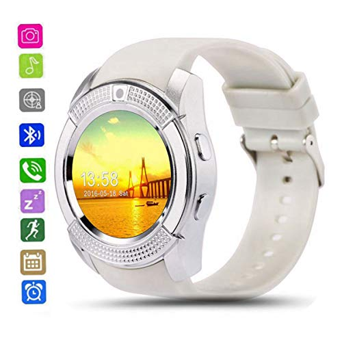 CatShin Smartwatch Android Per Sony Samsung Huawei-CS05 Braccialetto Con SIM Card Slot Fotocamera Orologio Smart Watch Con Whatsapp Facebook Notification Call Promemoria per Uomo Donna (bianca)