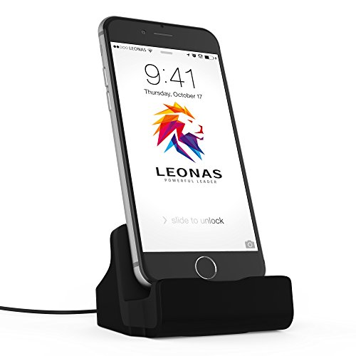 LEONAS® Docking Apple iPhone X 8 7 6 6S 5 SE Dockingstation in schwarz