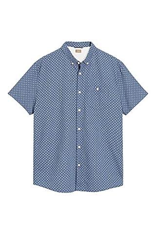 next Herren Kurzaermeliges Hemd mit Kreuzstruktur Regular XXL Blau Meliert