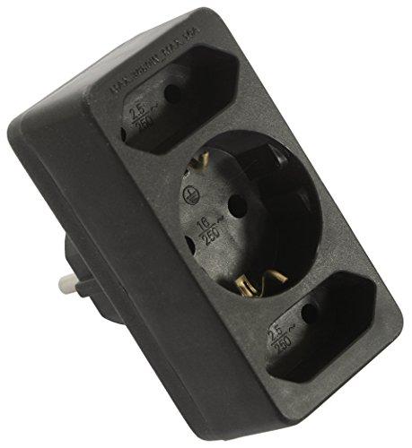Preisvergleich Produktbild as - Schwabe Dreifach-Stecker, 3fach Steckdosenadapter: 2 Euro +1 Schuko-Steckdose, Mehrfachstecker 230 Volt 49112