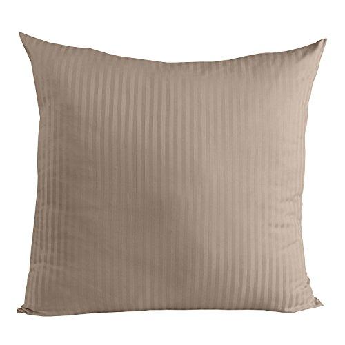 Homescapes Kissenbezug 80 x 80 cm Taupe/beige - 100% Reine ägyptische Baumwolle Fadendichte 330 mit Satin-Streifen - Kissenhülle mit Reißverschluss - Taupe Damast