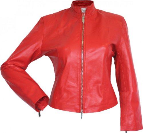 Damen Lederjacke Trend Fashion echtleder Jacke aus Lammnappa Leder Rot, Größe:M