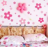 Princess Pink Flowers Girls Room Nursery Wall Stickers Transparent Art Decal
