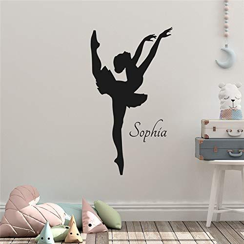 Ajcwhml Personalizzato Nome Ballerina Vinyl Wall Art Sticker Ragazza Camera da Letto Art Decor Home Decor Wall Sticker 58 X 105 CM