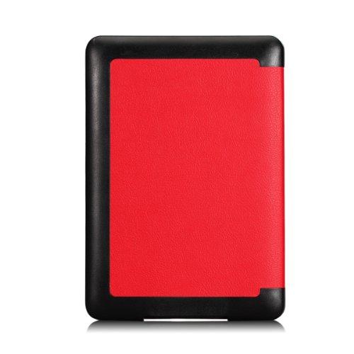 MoKo Etui Liseuse Kindle Paperwhite - étui Flip ultra mince et léger pour Amazon Liseuse Kindle Paperwhite (Convient à tous les modèles: 2012,2013,2015 et 2016 Blanc), NOIR AA-Rouge