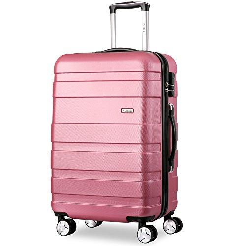Flieks Hartschale Trolley Koffer Reisekoffer Zwillingsrollen Reisekoffer mit Zahlenschloss Handgepäck mit 4 Doppel-Rollen, XL-L-M (Pink,...