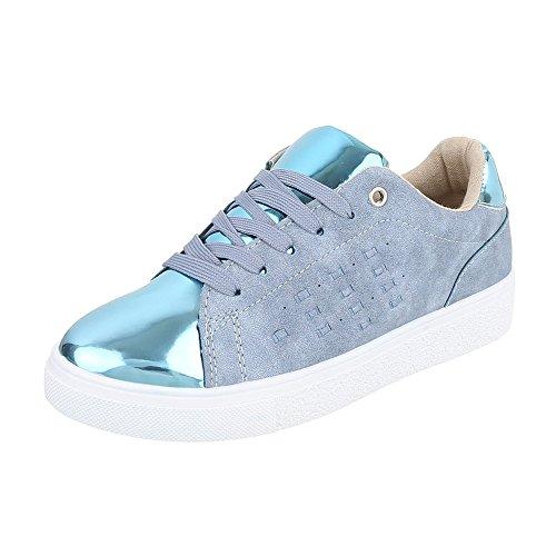 Low-Top Sneaker Damenschuhe Low-Top Sneakers Schnürsenkel Ital-Design Freizeitschuhe Hellblau 061-Y