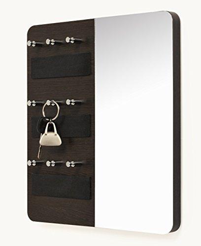 Bluewud Spiegel pared clave cadena soporte rack con decorativa espejo wengué, 9ganchos
