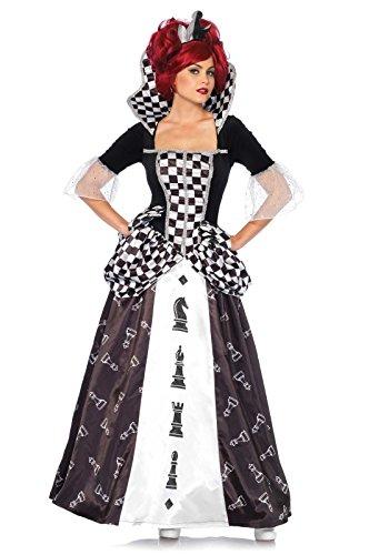 Leg Avenue 85572 - Kostüm Set Wunderland Schach-Königin, Damen Fasching, L, schwarz/weiß (Weiße Schach Königin Kostüm)