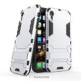 Cocomii Iron Man Armor iPhone XR Hülle [Strapazierfähig] Erstklassig Taktisch Griff Ständer Stoßfest Gehäuse [Militärisch Verteidiger] Ganzkörper Case Schutzhülle for Apple iPhone XR (I.Silver)