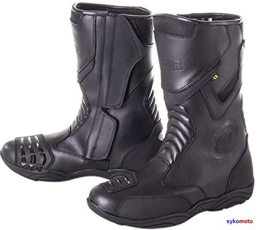 Viper 866 - Stivali da Moto da Uomo, omologati CE-HOMOLOGATED Impermeabili, in Pelle, protettivi, per Turismo, pendolari, Colore: Nero