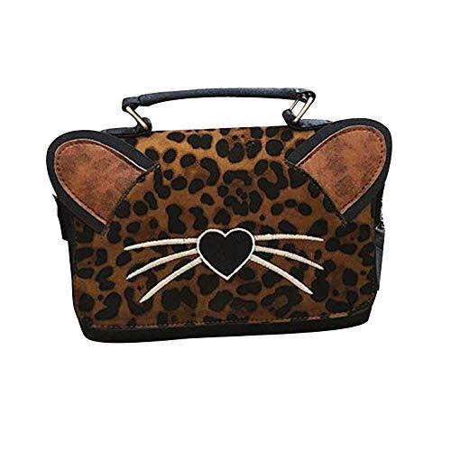 Weihnachten Schönheit, Leopard Schulter Frau Taschen Persönlichkeit Crossbody Taschen Cat Heart Handtasche Taschen (BW)
