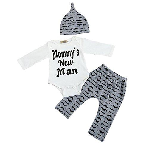 FNKDOR Neugeborene 0-18 Monate Baby Nette Outfits Bartdruck Kleidung Set Einteiler Tops + lange Hosen + Hut(03-06 Monate,Weiß) (Baumwolle Feste Schlaf-hose)