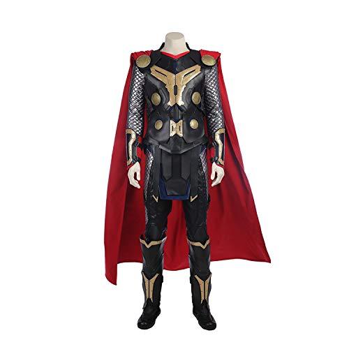 Kostüm Requisiten Benutzerdefinierte - QWEASZER Thor 2 God of Thunder Cosplay Kostüm Marvel Avengers Superheld Kostüme Unterwäsche, Rüstung, Hosen, Umhang, Schuhe Halloween Kostümfest Cosplay Kostüm Requisiten,Black-S