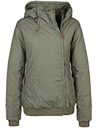 Urban Surface Damen Winterjacke mit seitlichem Zipper & Kapuze | Sportliche Jacke warm gefüttert