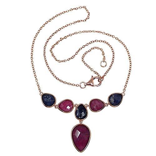 Gargantilla plata Ley rosada GLAMOUR 925 piedras naturales [AC0727]