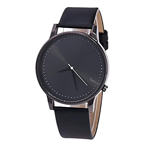 Watch ,Rawdah Casual Watch Leather Band Quartz Wrist Business Watch (Black)