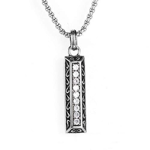 YDMSGSB Hängende Halskette Edelstahl Einfache Geschäfts Vertikale Streifen Diamant Titan Stahl Paar Geschenk Schmuck -