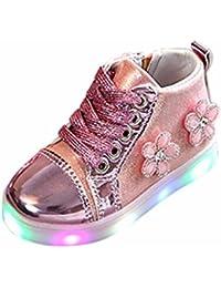 Amlaiworld Regalo Bambine ragazze fiore cristallo LED luminoso scarpe da ginnastica con cerniera