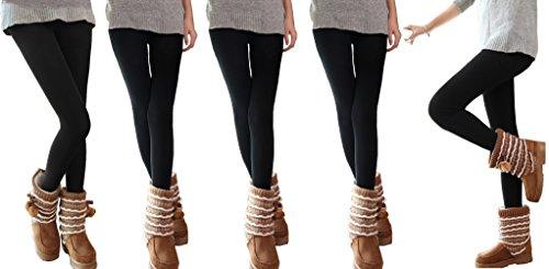 MEDIA WAVE store Pack a elegir de 3-5-10 leggings de mujer en color negro y con felpa por dentro - L-XL, 5 pz