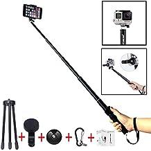 Palo Selfie, Foneso Selfie Stick Monopod con Trípode, Mando a Distancia y Lente a Gran Angular Ajustable para Teléfono Inteligente Iphone 4 5 6, Samsung S4 y Otros, Negro.