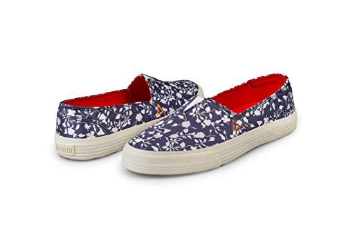 DIVADI Dream Indigo Vegane Schuhe - Damen Slip onSneaker | nachhaltige Frauen Schnür-Halbschuhe | Ideal für Jede Jahreszeit, ob in Frühling, Sommer, Herbst (37 EU) (37 EU, Blau) -