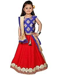 7d41133198 White Button Baby Girl's Royal Blue N Red Jacquard Silk ReadyMade Lehenga  Choli Dress