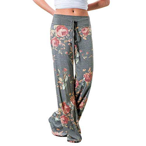 WOZOW Weites Bein Palazzo Hosen Freizeithose Damen Boho Flowers Blumenmuster Casual Lose Extra Lang Long High Waist Soft Kordelzug Zug Pyjama Trousers Stoffhose (M,Grau) -