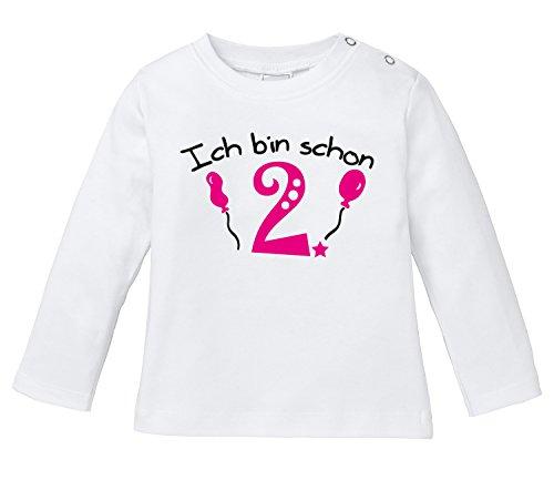 Ich bin schon Zwei! - Bio Baby Longssleeve (Mädchen Geboren T-shirt)