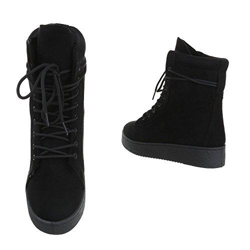 Schnürstiefeletten Damenschuhe Klassischer Stiefel Schnürer Schnürsenkel Ital-Design Stiefeletten Schwarz