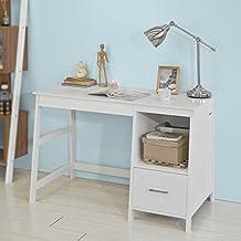 SoBuy® Mesa de escritorio, Mesa de ordenador con 1 cajón y 1 cuadrada,color blanco,FWT38-W,ES