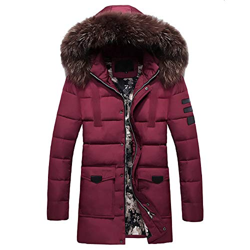 Herren Steppjacke Lange Dicke Daunenjacke mit Kapuze Männer Winter mittlerer Länge Zip Reißverschluss verdickt Hut abnehmbare Baumwolle Winterjacke Outwear Mantel (3XL, Rot)