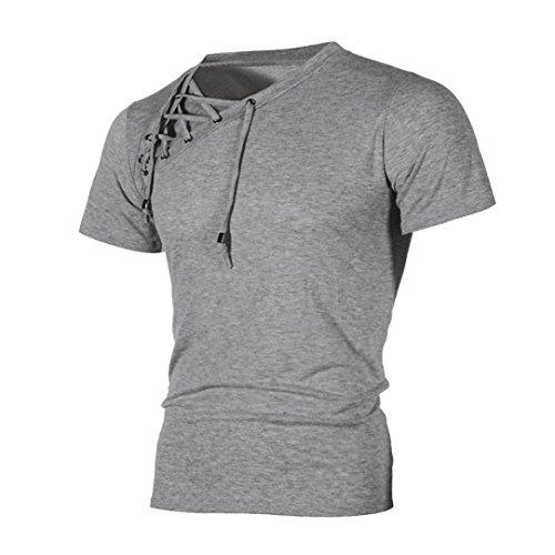 LuckyGirls T-Shirt Casual Slim à Manches Courtes Pour Hommes M~3XL (Gris, M)